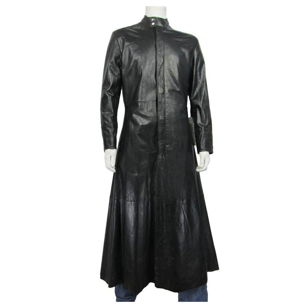 81078c1e849 100% REAL LEATHER Men Long Black Napa Classic Fashion Biker Leather Matrix  Jacket Neo Rock Coat