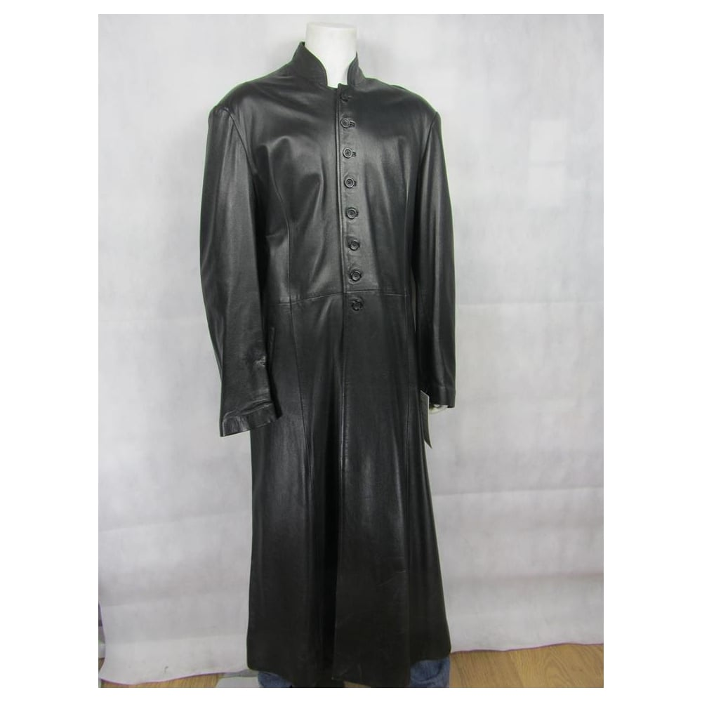 9681989923b 100% REAL LEATHER Mens Leather Black Trench Matrix Rock Neo Fashion Long  Jacket