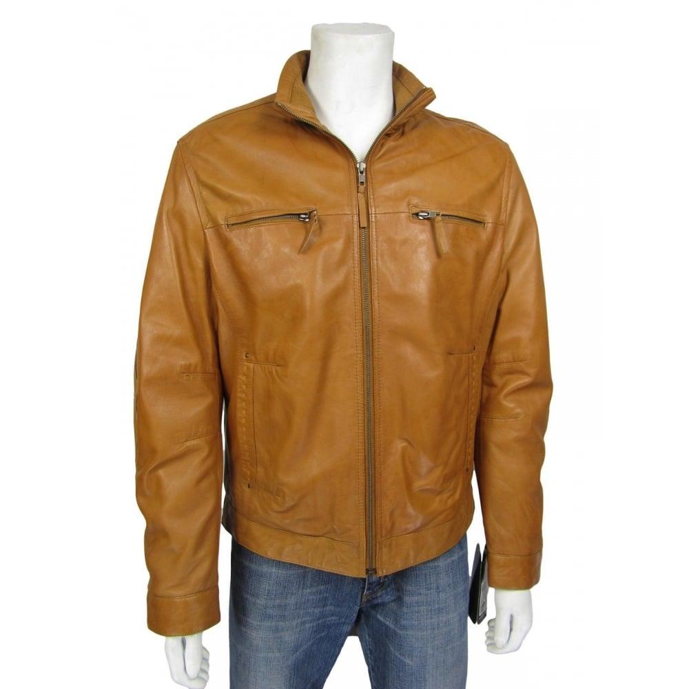 New Men Brown Napa Classic Cowhide Fashion Biker Leather Jacket Bike Rock