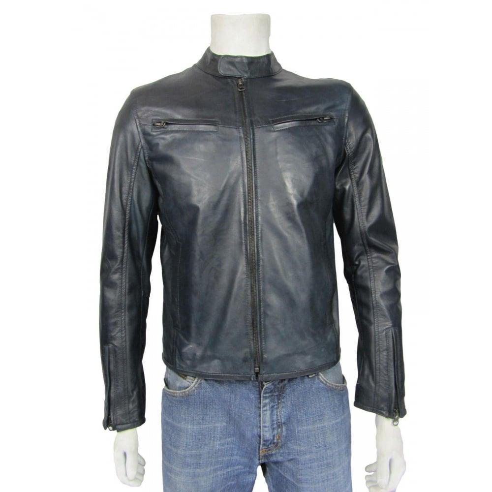 39e645cab 100% REAL LEATHER Tough Rider New Men Blue Soft Napa Short Biker Leather  Jacket Bike Rock
