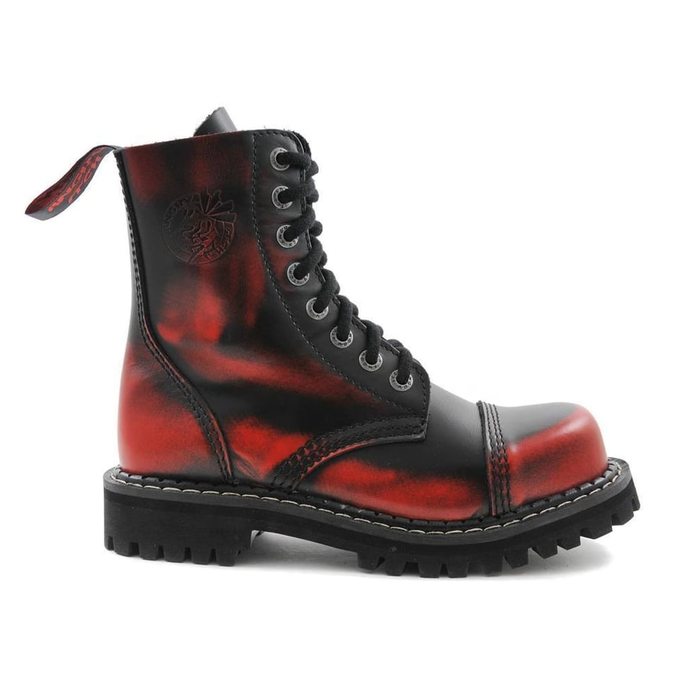 Angry Itch 8 Hole Black Leather Red Rub