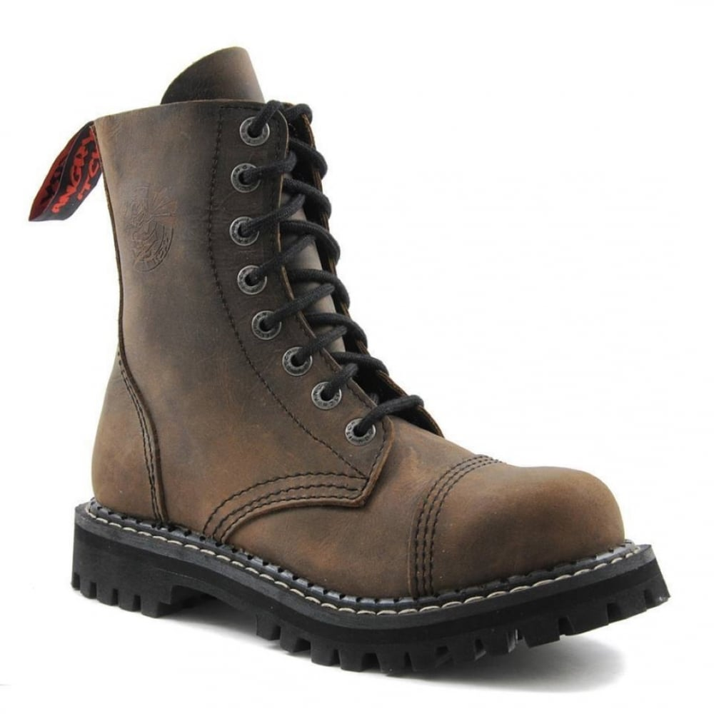 Angry Itch 8 Hole Punk Vintage Brown Leather Army Ranger Boot Steel Toe 8c613e2e62b