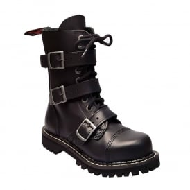 Army Ranger Combat Black Leather Boots 10 Hole 3 Buckle Made in EU Design In England