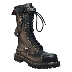 Army Ranger Combat Black Leather Boots 14 Hole Chain Made in EU Design In England