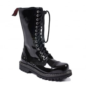 Army Ranger Combat Black Patent Leather Boots 14 Hole Made in EU Design In England