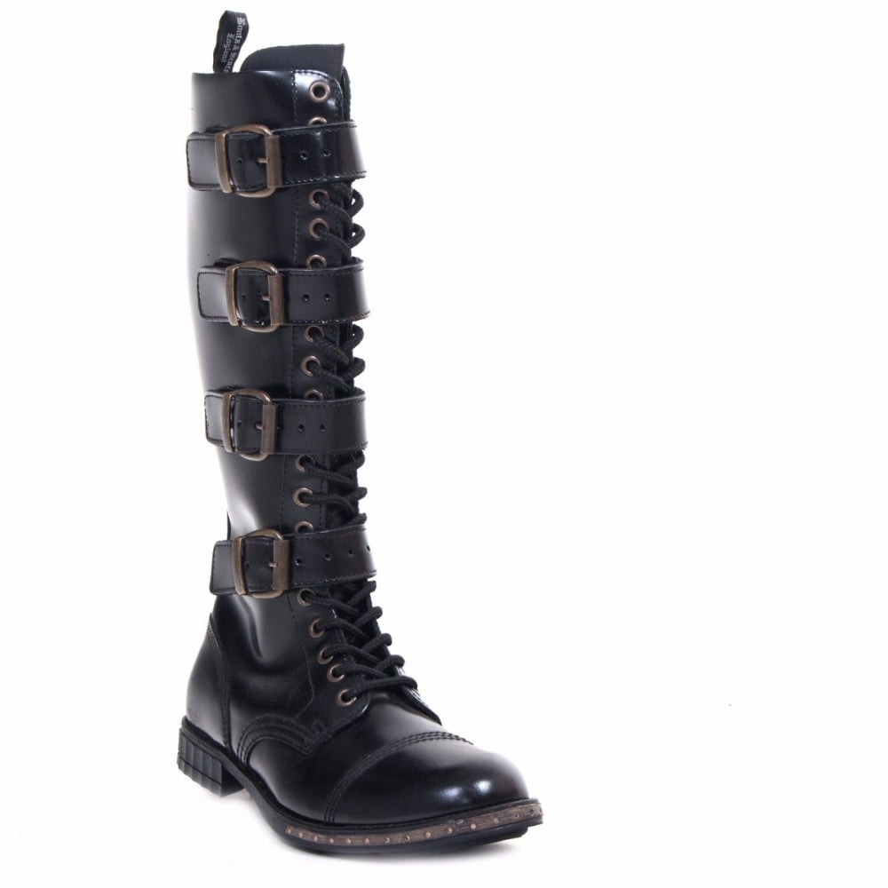 bd914bb0bb1 Ladies Black Leather 4 Buckles 20 Hole Boots Combat Punk