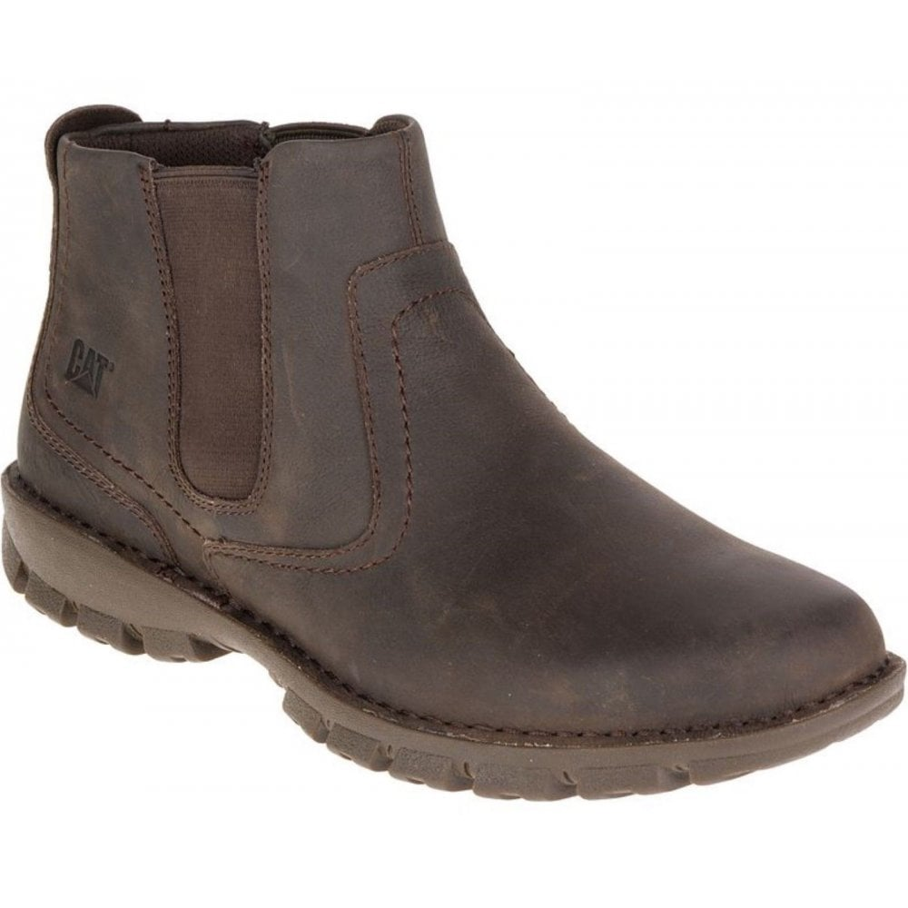 Black Coffee Leather Slip On Boots