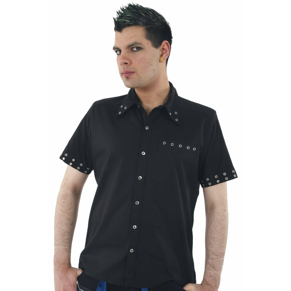 Dead threads men black cotton shirt chrome stud ring punk for Dress shirt studs uk