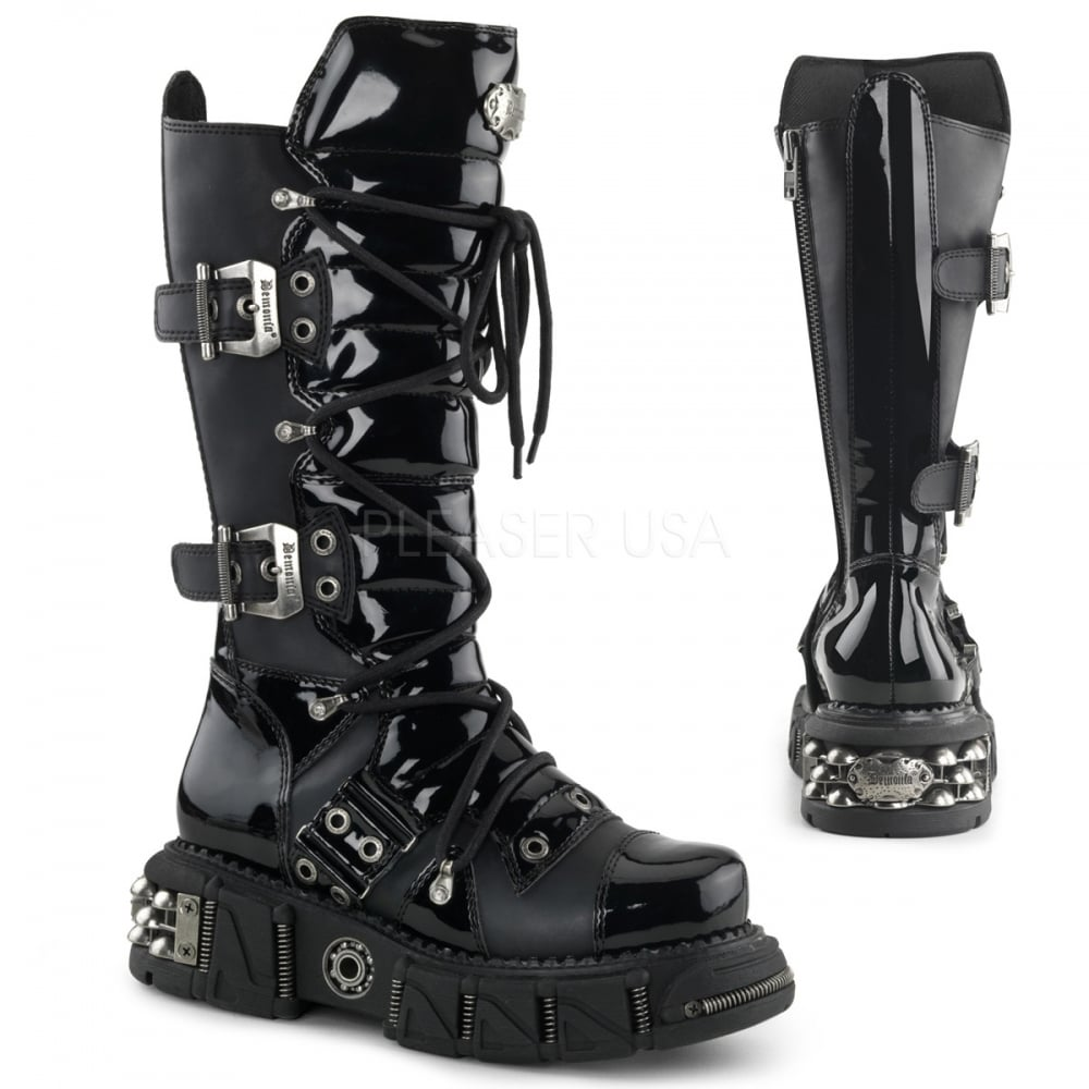 a45675671a9 Demonia Dma 3006 Unisex Black Patent Goth Cyber Punk Veggie Lace Up Front  Boot