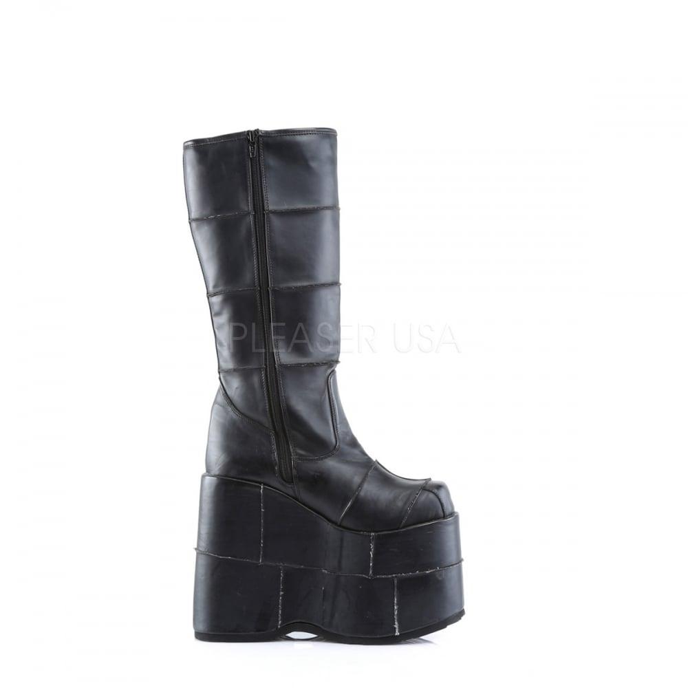 new styles united kingdom wholesale outlet Demonia Stack 301 Unisex Black Mat Goth Punk Platform Boots ...