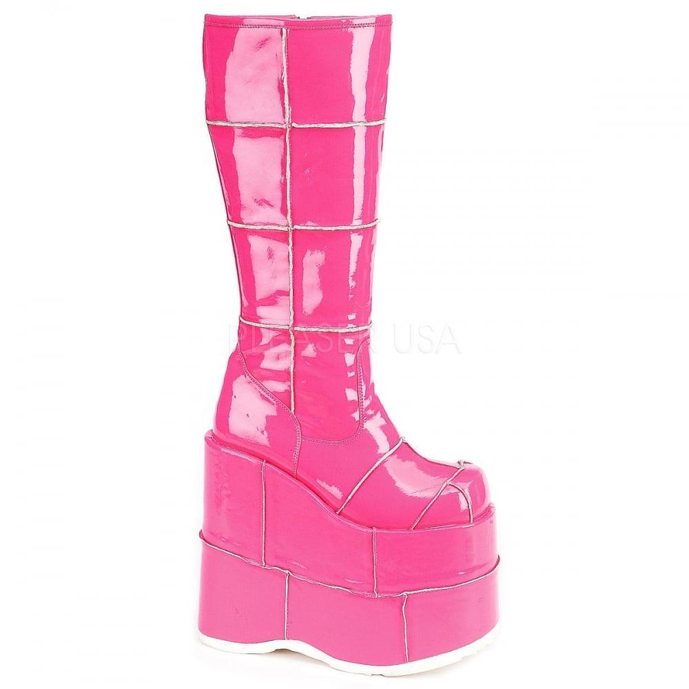 6e959610c88 Demonia Stack 301 Unisex Pink Patent Goth Punk Platform Boots ...