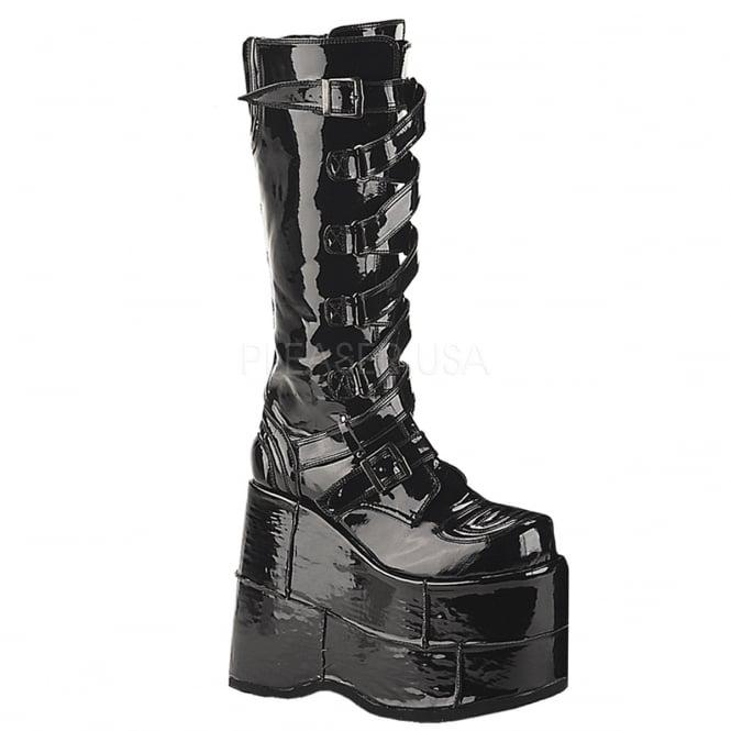 brand new super cute best prices Demonia Stack 308 Unisex Black Patent Goth Punk Bukles Straps ...
