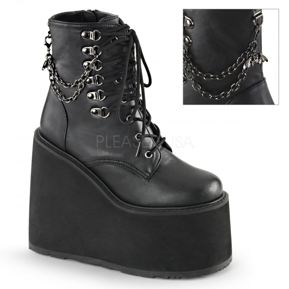 e957a4cb9e1c Swing 101 Ladies Black Wedge Platform Strap Bat Charm Chain Buckle Boots