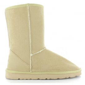 2e327c37d805 Ladies Midi Beige Fur Lined Vegan Boot Hardsole