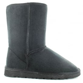 d626d2de2064 Ladies Midi Black Fur Lined Vegan Boot Hardsole
