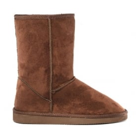 1ab1642e1a714 Ladies Midi Brown Fur Lined Vegan Boot Hardsole