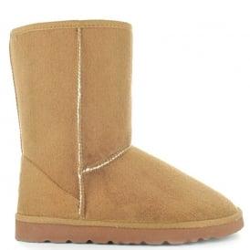 b18442876 Ladies Midi Chestnut Fur Lined Vegan Boot Hardsole