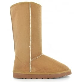 Ella Savannah Brown Ladies Vegan Boots 2 Buckle High Calf Fax Fur Boot