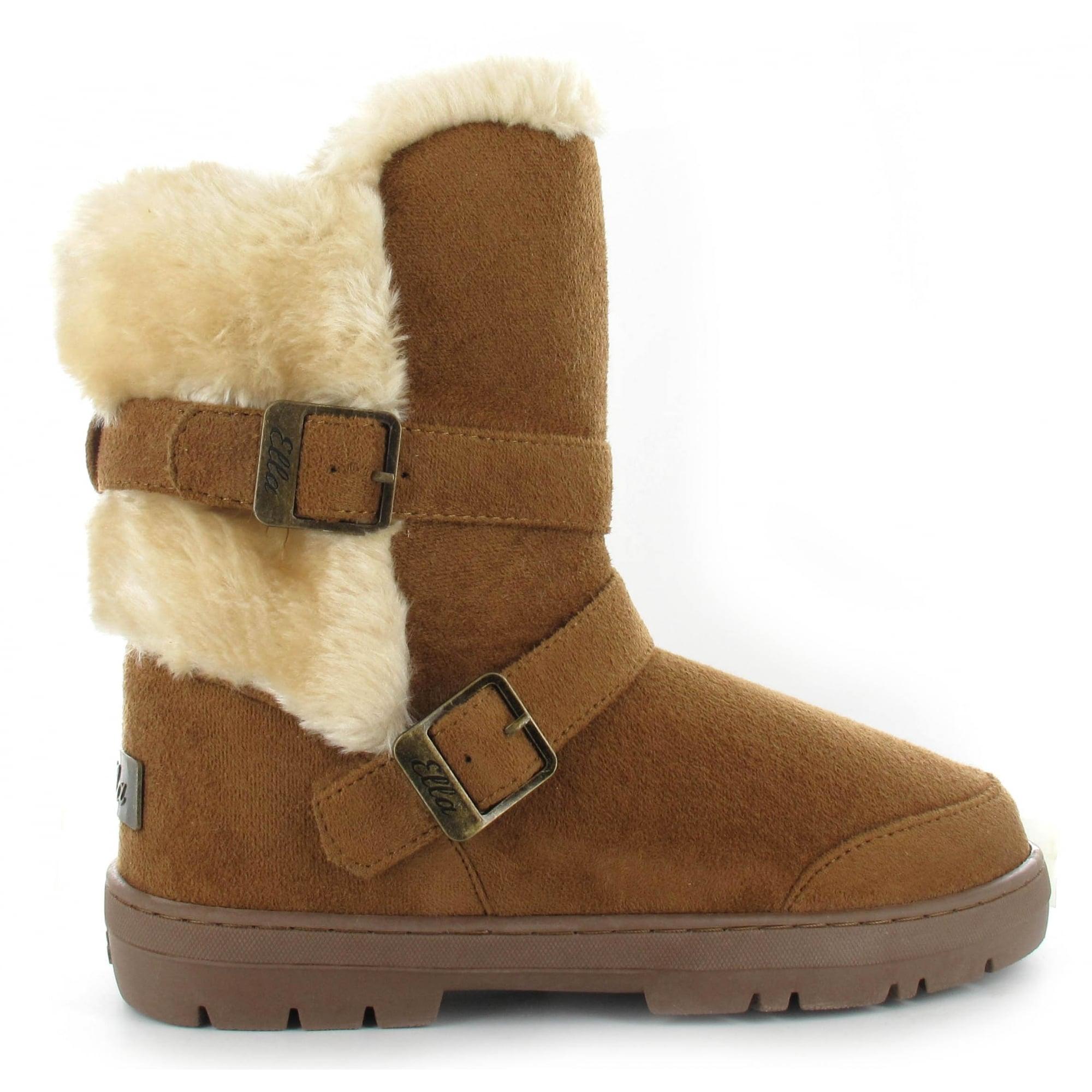Buckles Faux Fur Boot - Ladies