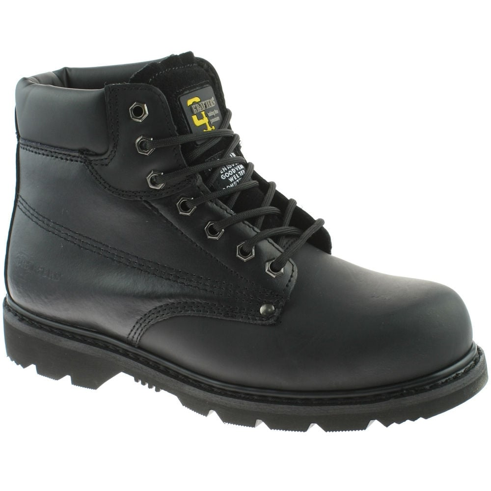 16a399dfdff Grafters M124A Mens Black Leather Industrial Worker Safety Steel Toe Cap  Boots