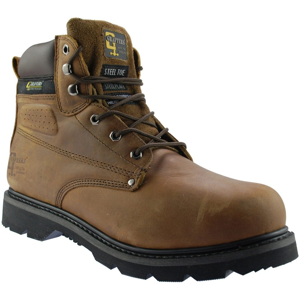 19220ac53b8 Grafters M124B Mens Brown Leather Industrial Worker Safety Steel Toe Cap  Boots