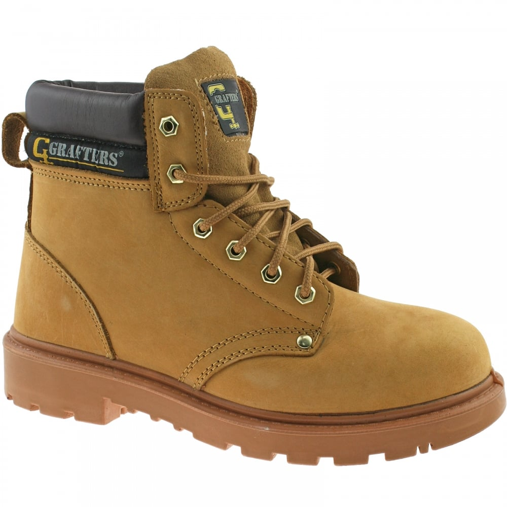 3af254e1d1f Grafters M124N Mens Tan Leather Industrial Worker Safety Steel Toe Cap Boots