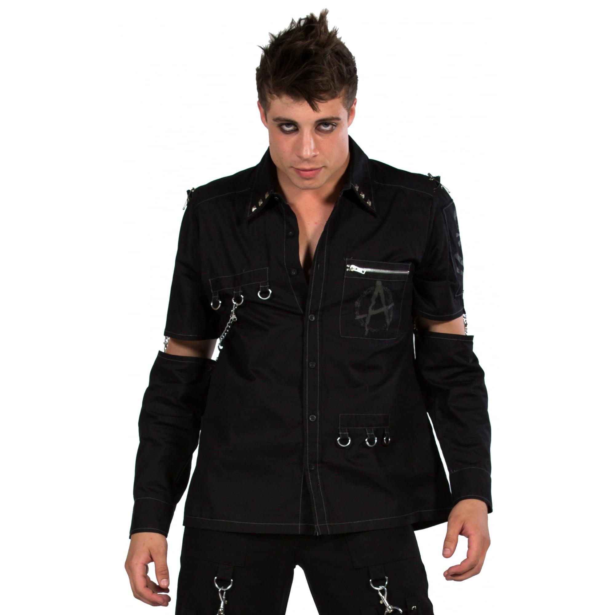New Dead Threads Shirt Rings /& Zippers Men Metal Punk Emo Rock