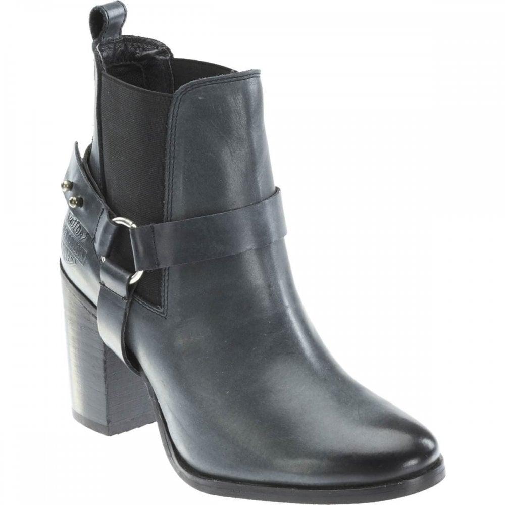 aba6c2f78fffe Harley Davidson Catalani New Ladies Grey Leather Chunk Heel Biker Boots Ash