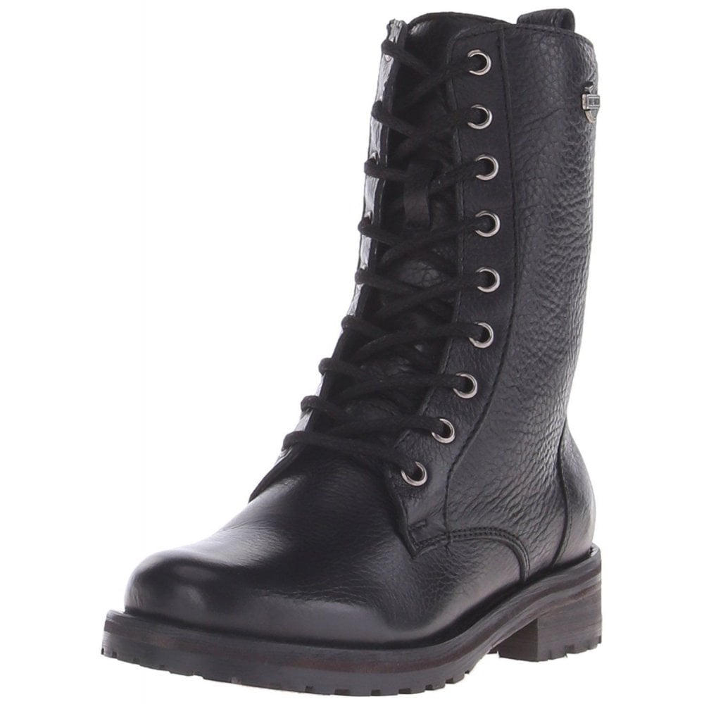 3c9d7a7ea7c Harley Davidson Kenova Ladies Black Leather Lace Up Boot Biker Combat Boots