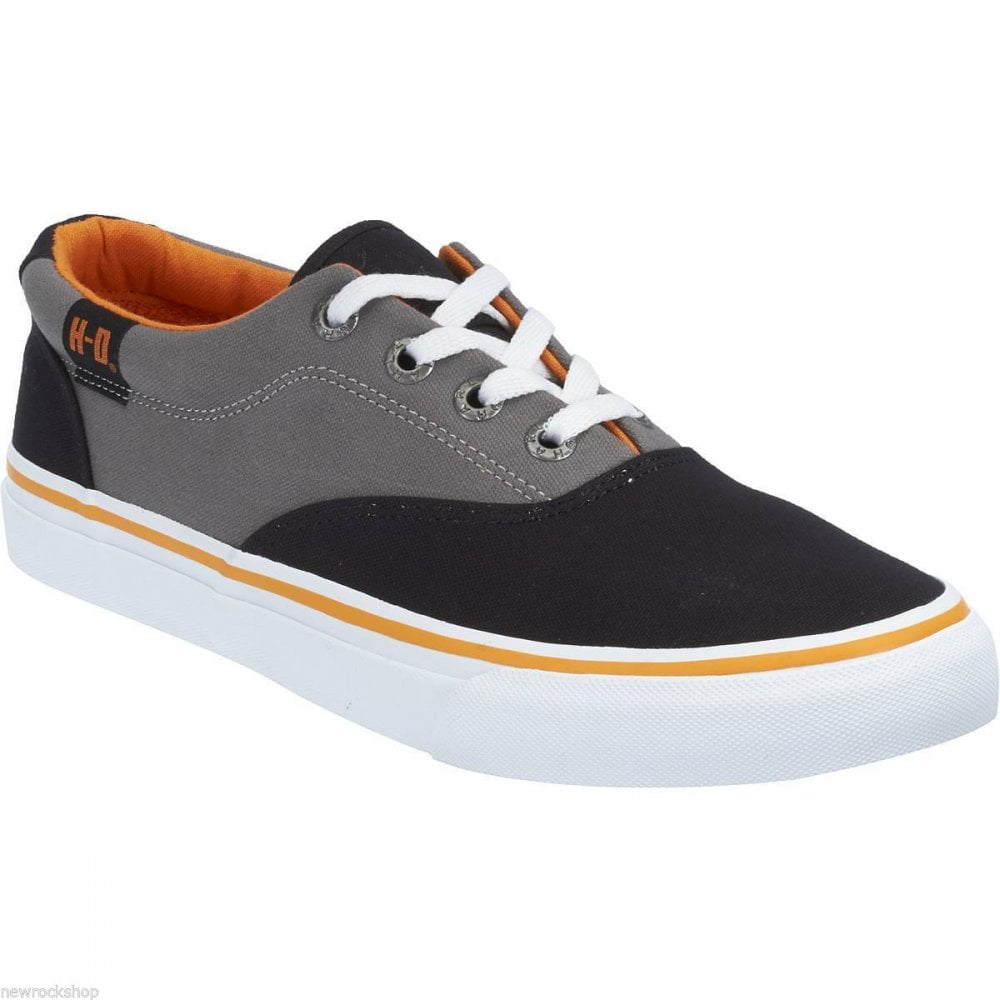 b1977f59a Harley Davidson Lawthorn Black Grey Men Biker Trainers Relax Lace Shoes