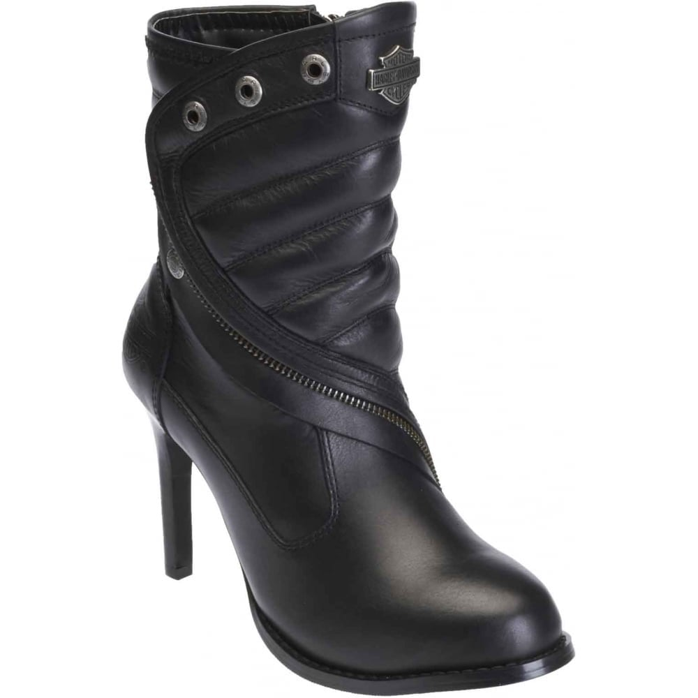 282fc4acd27e9 Harley Davidson Olanta Ladies Black Leather Ankle Boots Size Zip Stiletto  Heel Motorbike Riding 36