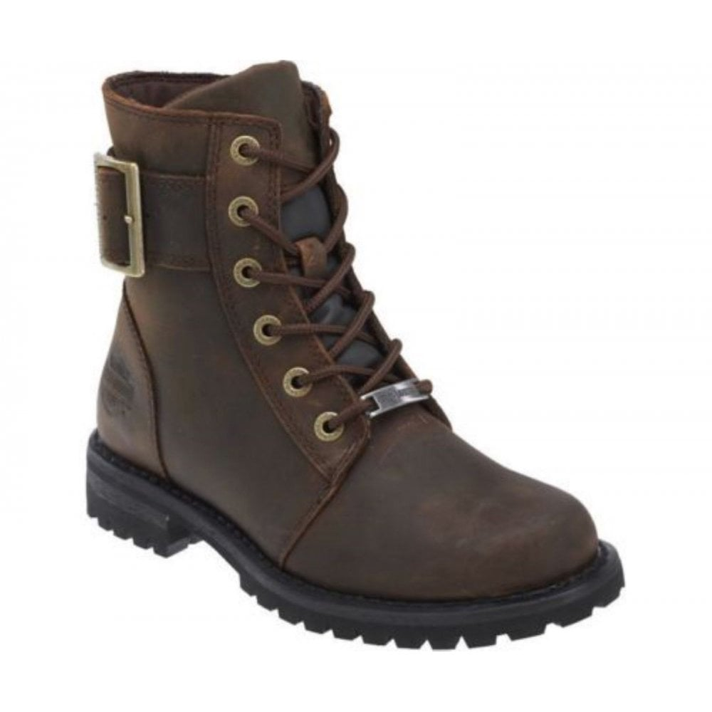 Harley Davidson Sylewood Brown Leather Biker Boots Ladies Lace Up Ankle Boot 5a3afc6abf47