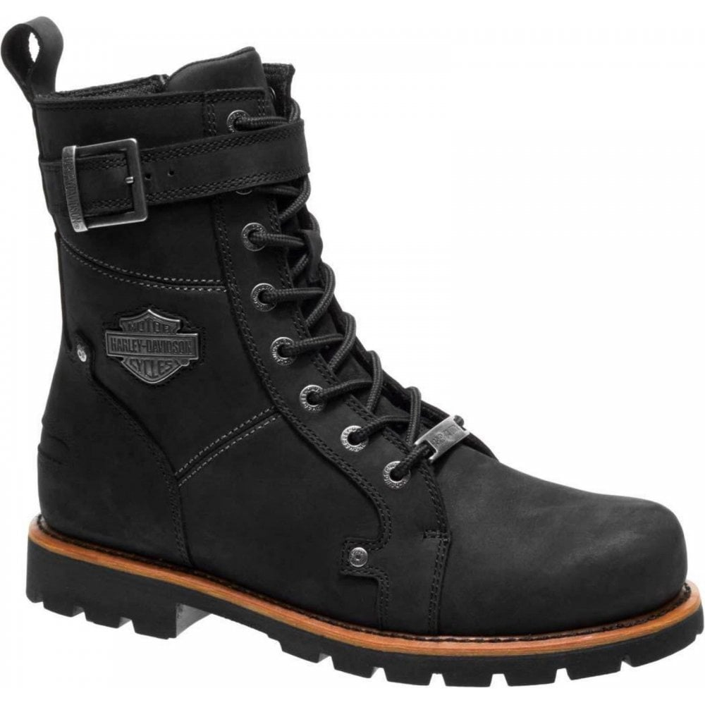 1fa029239f Harley Davidson Harley Davidson Wickson Men Black Leather Biker Boots Rock  Buckles Lace Up