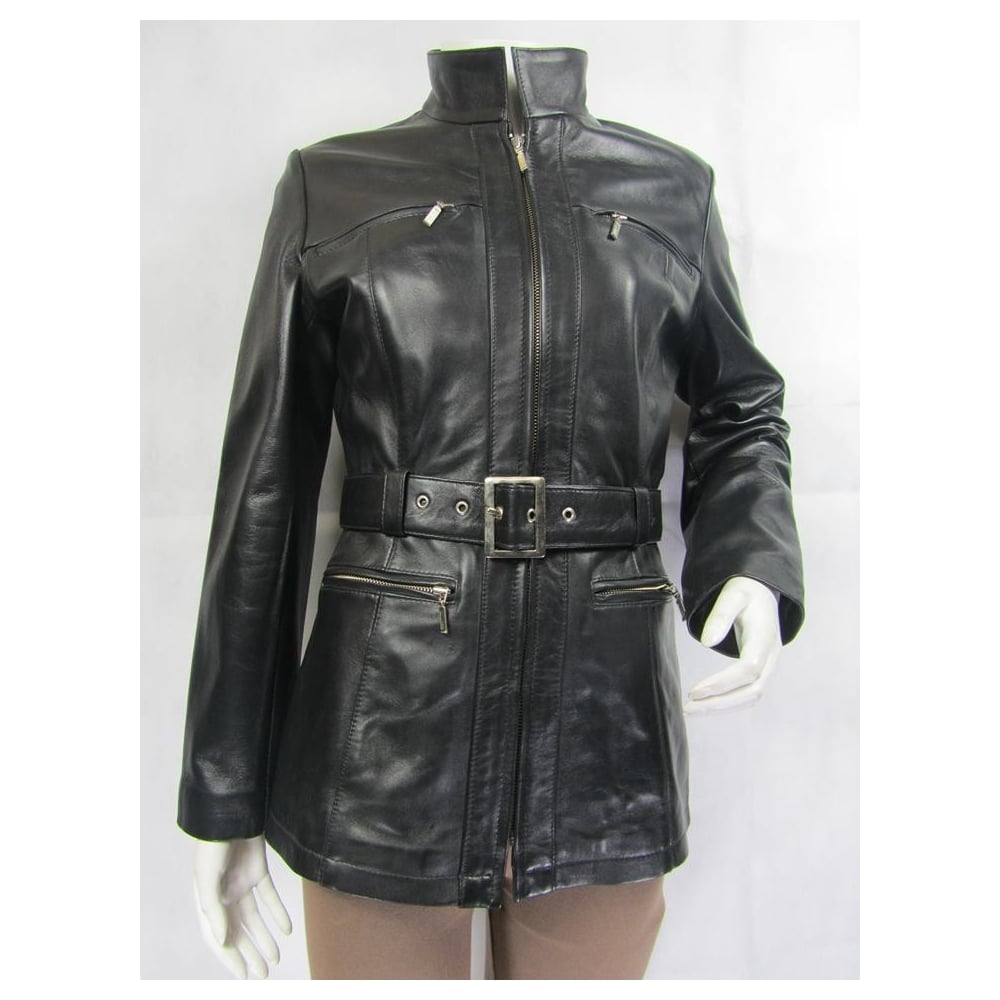 leather from with image black diesel jacket detailing girls stud