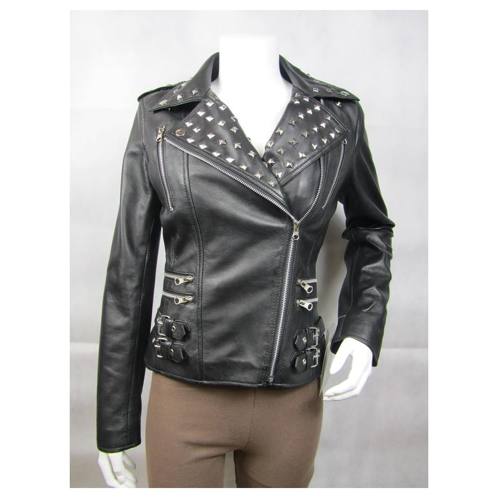 and p jacket htm fringe ladies leather stud