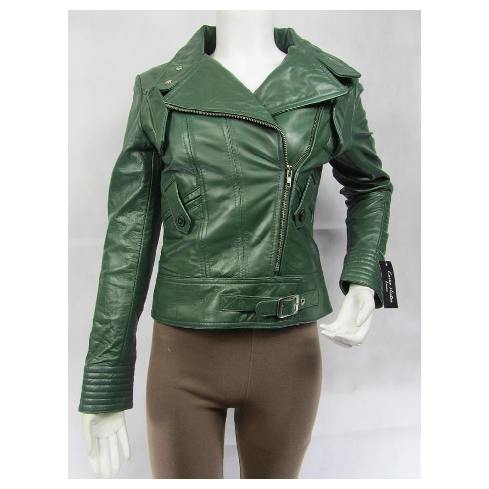 Ladies Green Napa Leather Slim Tight Fitted Zip Short Biker Jacket