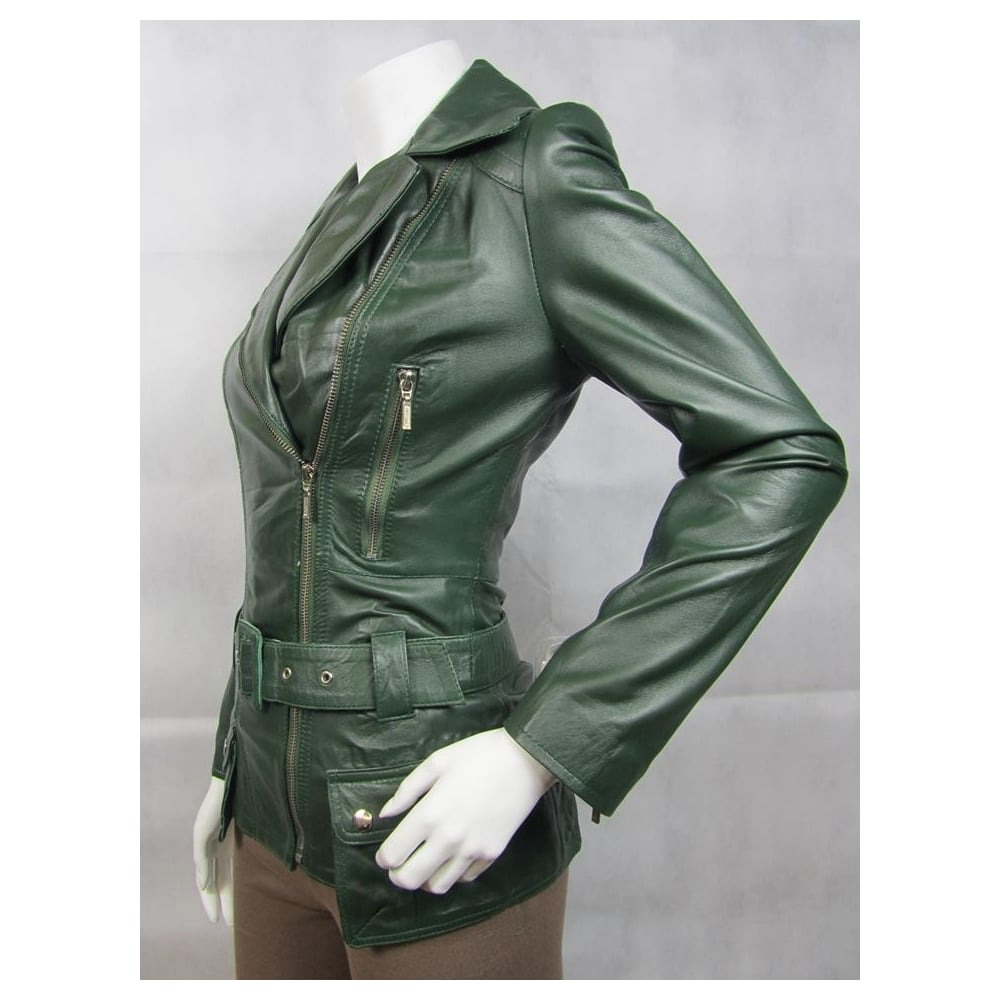 3517d77e9 Ladies Fashions 100% Leather Ladies Green Nappa Leather Biker Rock Belt  Fashion Poket Zip Jacket