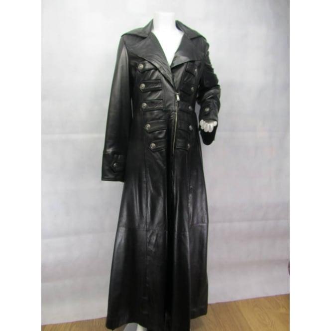 e0a0e755e Ladies Fashions 100% Leather Ladies Leather Black Punk Goth Biker Rock  Fashion Long Matrix Trench Jacket