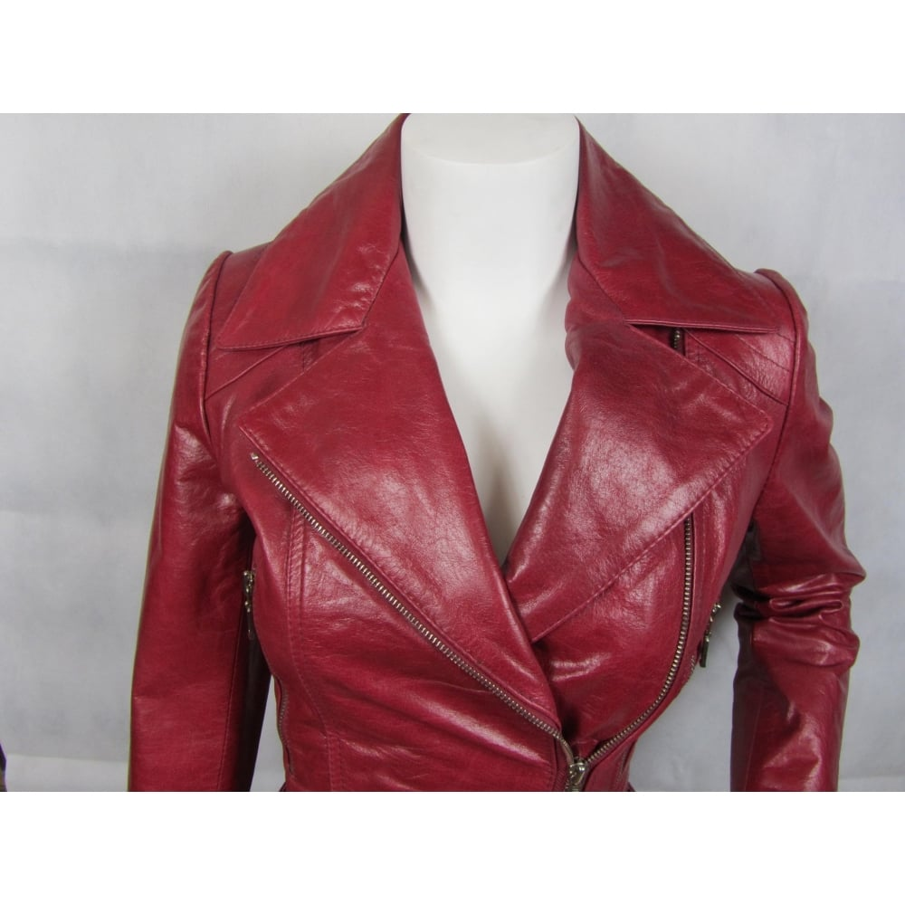 220193652 Ladies Fashions 100% Leather Ladies Red Leather Biker Rock Belt Fashion  Poket Zip Jacket