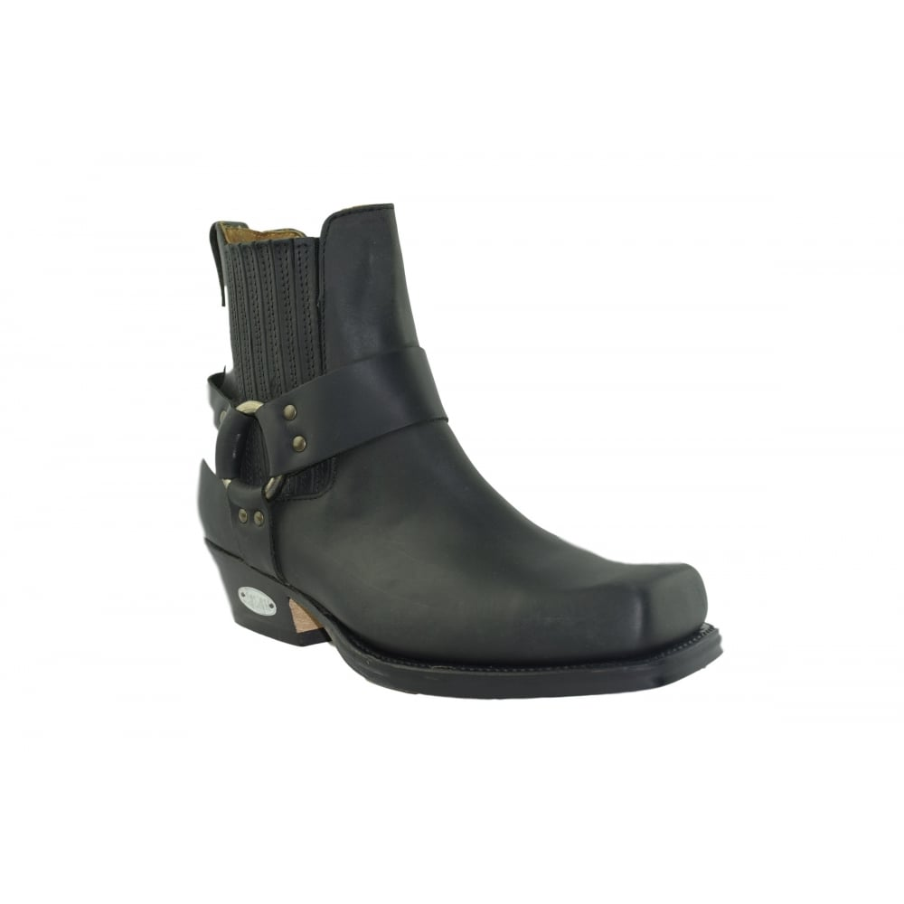 loblan 096 black leather biker ankle boots made