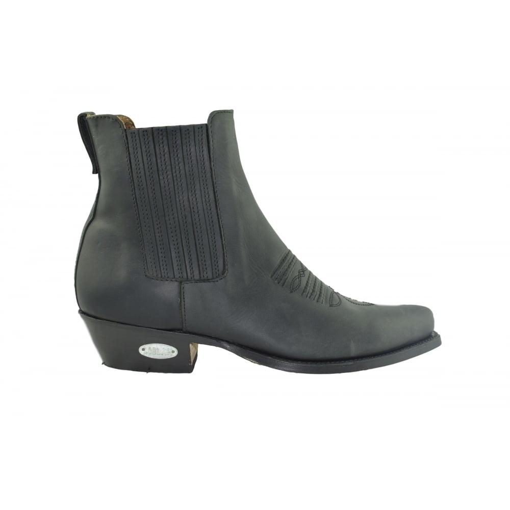 Loblan 298 Black Leather Western Ankle