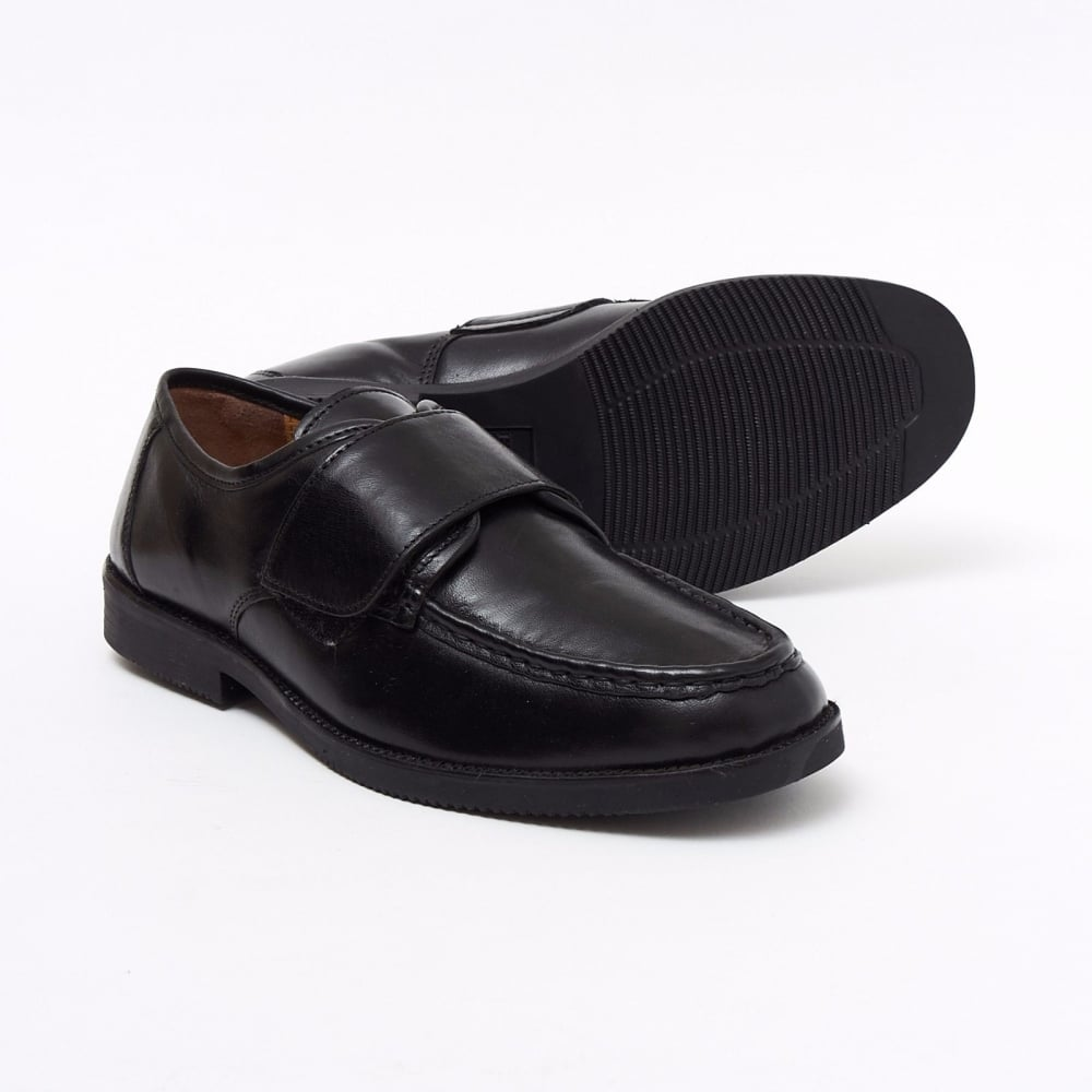 b268ee08a12e Lucini Formal Men Black Leather Velcro Heels Smart Shoes Slip On Wedding  Loafer
