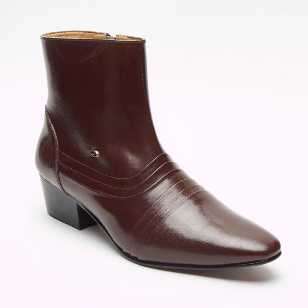 38a49d522e11a Lucini Formal Men Brown Leather Formal Heels Chelsea Slip-On Boots Wedding  Office