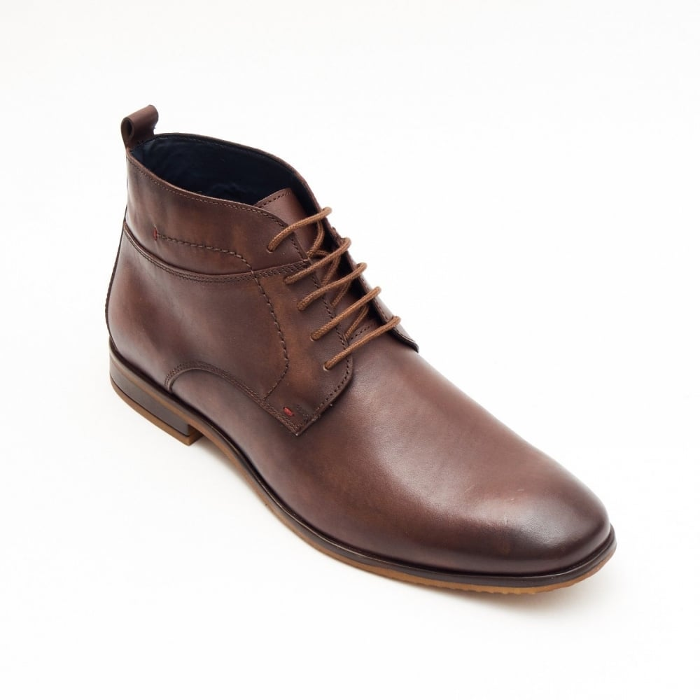 41da3a868be Formal Men Brown Leather Formal Heels Lace-Up Boots Wedding Office