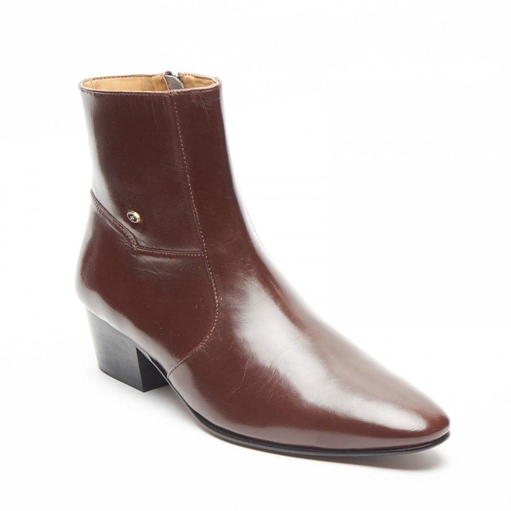 Lucini Formal Men Brown Leather Formal Heels Wedding Office Chelsea Slip-On  Boots 691598c01b2f