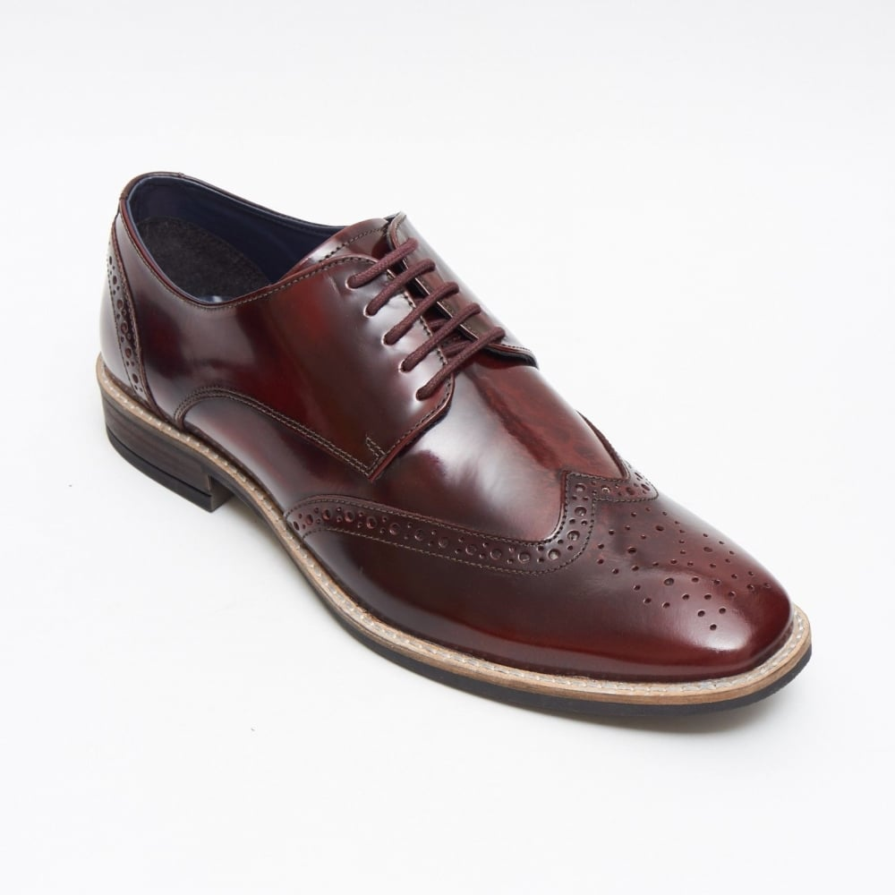 Lucini Formal Men Burgundy Brogues Leather Formal Lace-Up