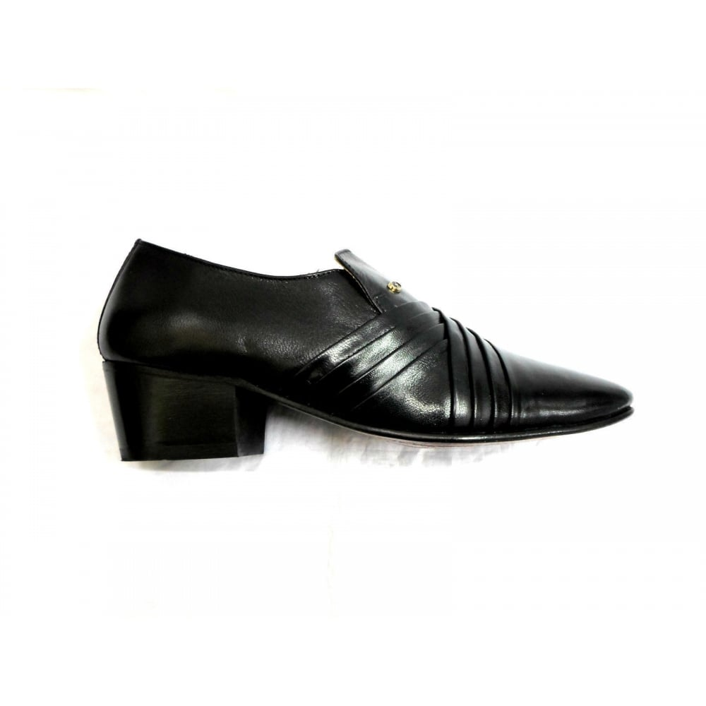 e6a701a6990 Lucini Formal Mens Cuban Heels Smart Formal Real Leather Slip On Shoes  Black Mat