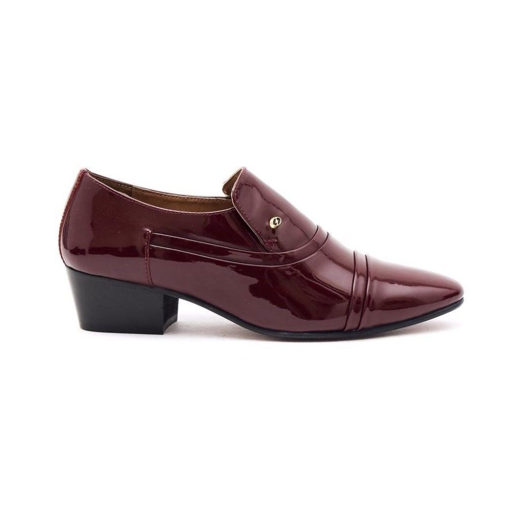 3ba7022da50 Formal Mens Cuban Heels Smart Formal Real Leather Slip On Shoes Burgundy  Patent