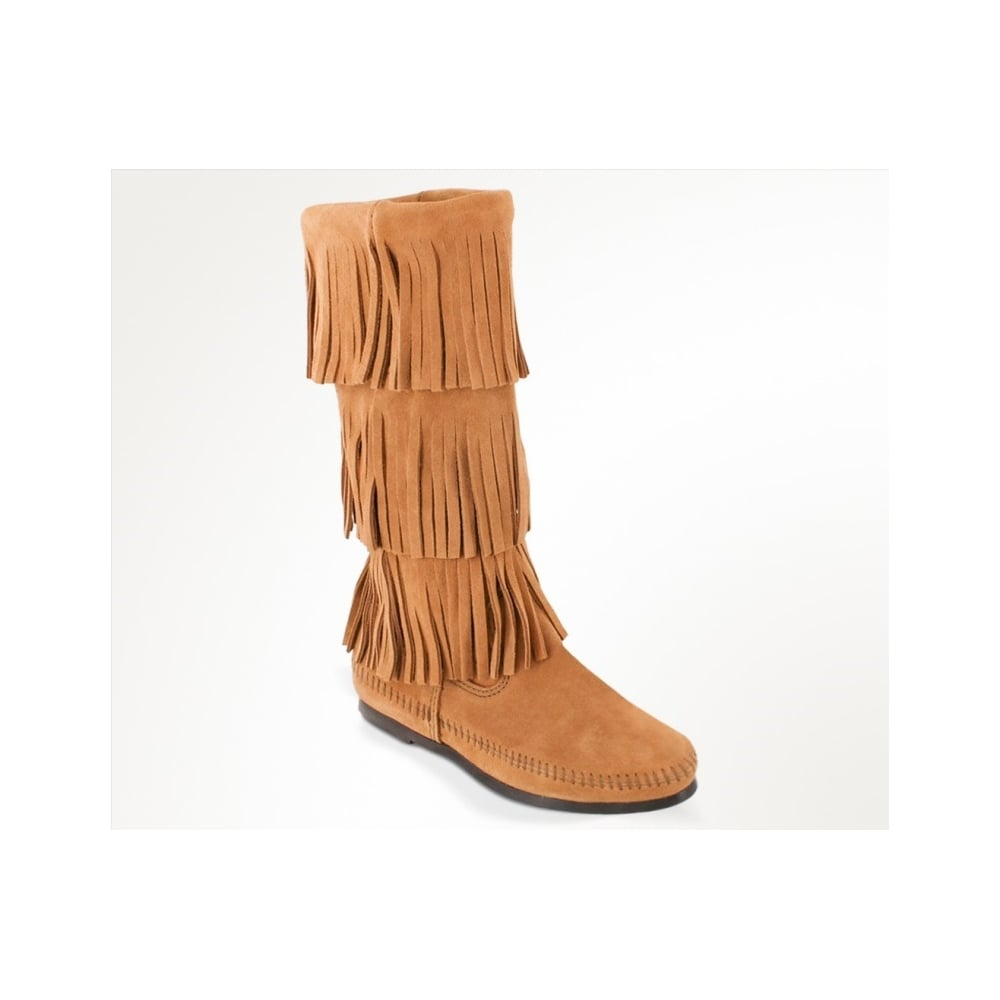 c6d5309f13d Minnetonka 3 Fringes Moccasins 1637T Women  039 S Knee High Boot Hardsole  Taupe Suede