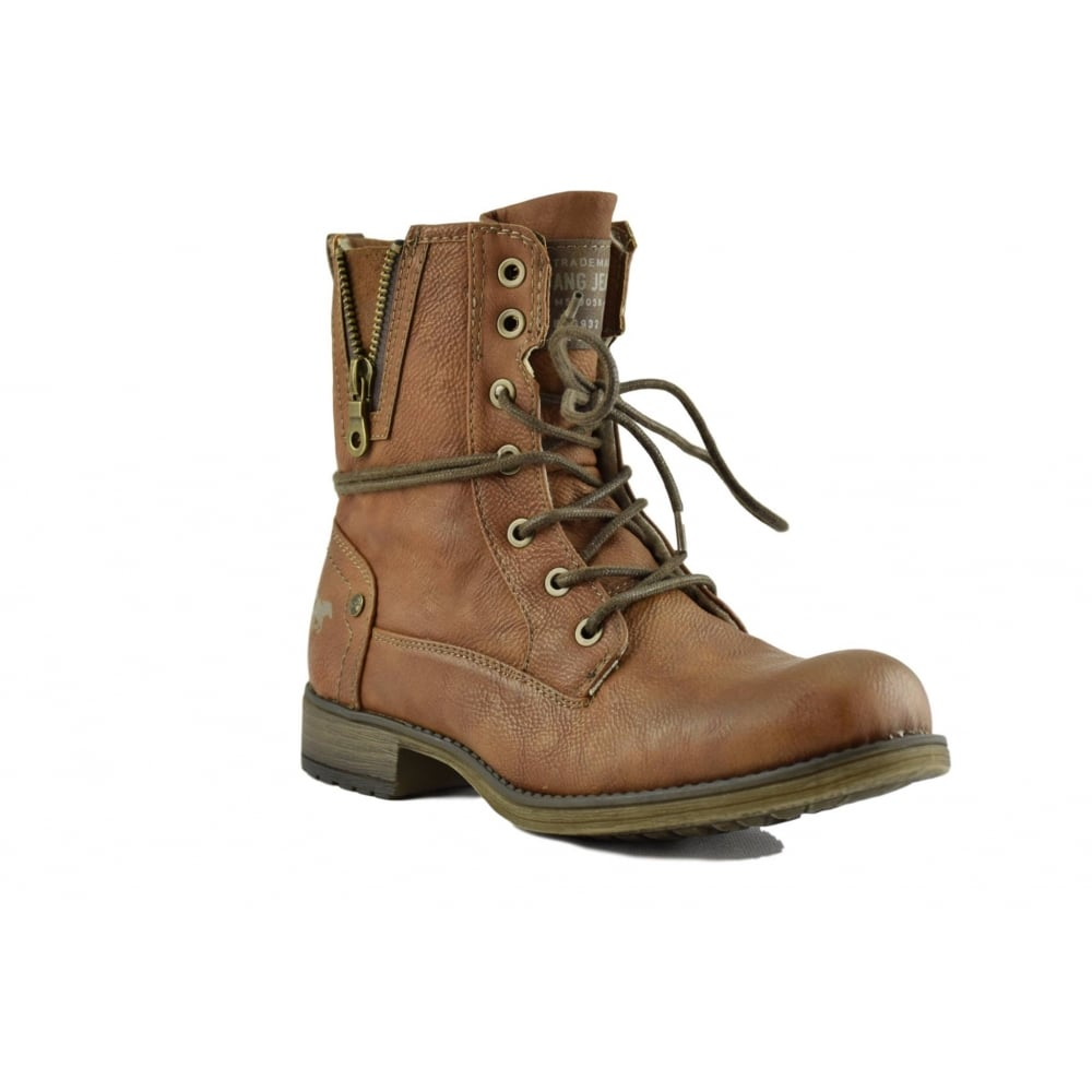Ladies Tan Lace up Boots